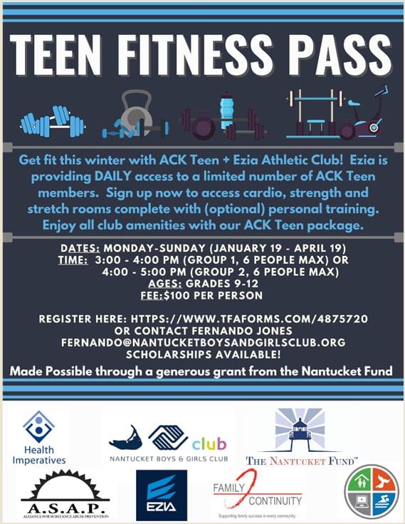 Teen Fitness Pass | Nantucket, MA